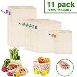 PEYOU 11PCS Bolsa Reutilizable Algodon, 9PCS Bolsa de Malla Lavable Transpirable con 2 Asa Mango, Bolsas Reutilizables Compra de Fruta,Vegetales y Juguetes