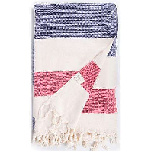 Bersuse - Coperta per asciugamano turco, 100% cotone, taglia XXL, colore: Blu scuro-rosso