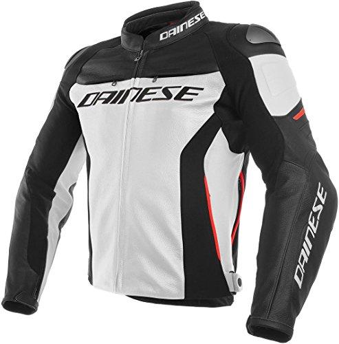 Dainese Lederjacke Racing 3, weiß/schwarz/rot, Größe 54