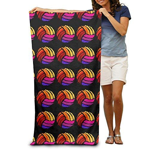 YUYUTE Toallas de Playa, Colorful Volleyball Adults Cotton Beach Towel 31 X 51-Inch