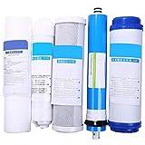 Kaxofang Equipo de Cartucho de Purificador de Agua de Reemplazo de Filtro de óSmosis Inversa de 5 Etapas 5 Unids con Kit de Filtro de Agua de Membrana de 50 GPD