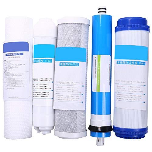 Gesh 5 cartuchos de repuesto para filtro de ósmosis inversa Ro de 5 etapas con filtro de agua de membrana de 50 GPD.