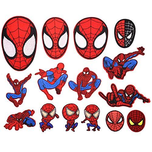 CYWQ - 15 parches de Spiderman para planchar con parches bordados para chaquetas de vaqueros, ropa, bolso, zapatos, gorras para niños y adultos