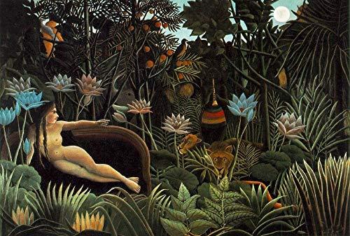 Wzjxzsynl Malen nach Zahlen der Traum von Henri Rousseau DIY digitales malen nach Zahlen Moderne wandkunst leinwand malerei Geschenk für Kinder wohnkultur