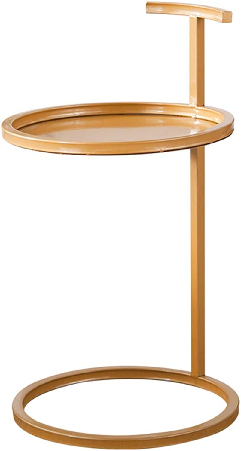 ZZHF changtoukui Side Table, Iron Art Creative Stable Side Table Multifunction Round Simple Practical Sofa Side Table Living Room Metal Small Coffee Table (color   gold)