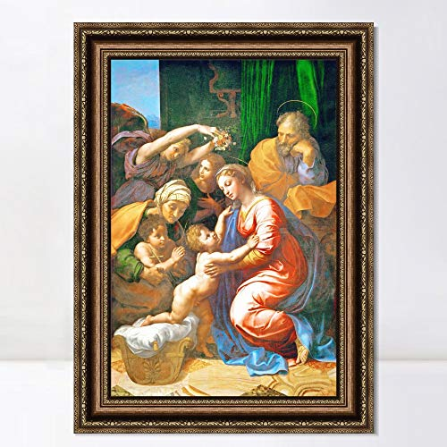 "INVIN ART Framed Canvas Art Giclee Print Series#026 by Raphael/Raffaello Sanzio Wall Art Living Room Home Office Decorations(Vintage Embossed Gold Frame,20""x28"")"