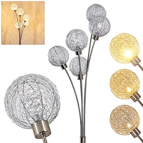 Stehlampe Bernado stufenlos dimmbar, Stehleuchte Nickel-matt/Silberfarben, 5-flammig, mit 5 Drahtkugeln, 5 x G9, moderne Bogenlampe für Wohnzimmer, Schlafzimmer, Flur, mit Fußschalter am Kabel