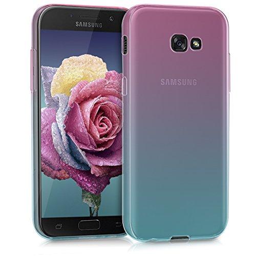 kwmobile Carcasa Protectora Compatible con Samsung Galaxy A5 (2017) - Funda Bicolor Rosa Fucsia/Azul/Transparente