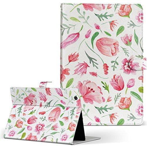 igcase dtab Compact d-02K docomo ドコモ タブレット 手帳型 タブレットケース タブレットカバー カバー レザー ケース 手帳タイプ フリップ ダイアリー 二つ折り 直接貼り付けタイプ 011876 花柄 ピンク かわいい