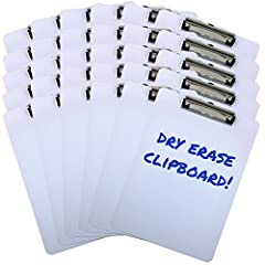 30 Pack Bulk Value - Dry erase surface and smooth flat edges with rounded corners - Works as lapboards 9 Inches x 12.5 Inches - Letter size, easy to stack and organize - Perfect for Classrooms and Students Retractable hanging loop - Stows away when n...