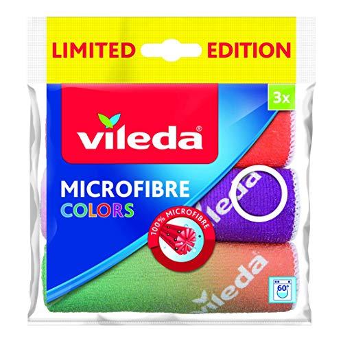 Vileda Panni Multiuso Microfibra, Vetri, Bagno, Cucina, Mobili, Colori Assortiti, 30 x 30 cm, 3 unità