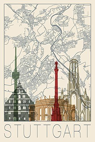 Artland Qualitätsbilder I Wandtattoo Wandsticker Wandaufkleber Städte Deutschland Digitale Kunst Creme E2QF Retro Karte Stuttgart Deutschland und Skyline