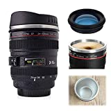 Camera Lens Coffee Mug,Stainless Steel Photo Coffee Cup with Sealed & Retractable Lids,Photographer Camera Mug,Travel Coffee Cup, Great Gifts for Photographers, Friends, Lovers