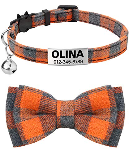 TagME Personalized Breakaway Cat Collar with Cute Bow Tie & Bell, Stainless Steel Slide-on Pet ID Tag Engraved with Name & Phone Numbers,1 Pack Orange
