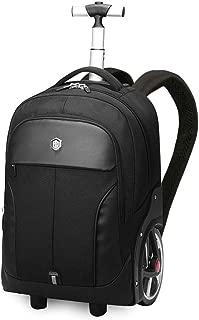 GLJJQMY Travel Bag Backpack Business Trolley Bag Travel Backpack Large Capacity Ultra Light Big Wheel Waterproof Student Bag Trolley Backpack (Color : Black, Size : 48x20x35cm)