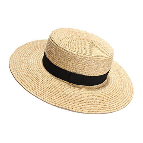 Womens' Panama Sun Hat Boater Handwoven Straw Hat for Summer, Knot, One Size