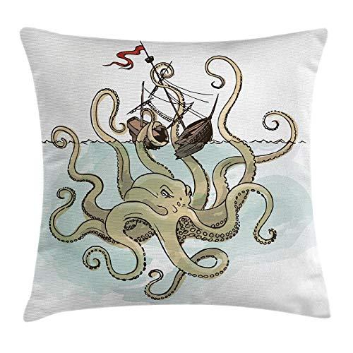 Kraken Throw Pillow Funda de cojín, Pulpo hundiendo los Barcos Piratas Mito Griego Cultura de Peces Imagen de Arte de Dibujos Animados, 45 x 45 cm, Verde Tostado
