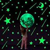 Konsait 206Pcs Lune et Étoile Autocollants Lumineux Stickers Muraux Etoiles...