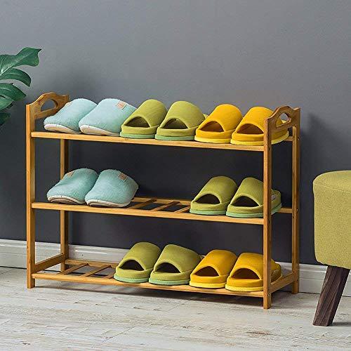 Busirsiz Soporte de flor de bambú estante de zapatos, 100% naturales espesado 4-6-nivel de almacenamiento Puerta de entrada del zapato estante for entrada 105x25x70cm armario Salón Dormitorio-J (41x10