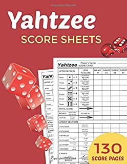 Yahtzee Score Sheets : Score Pads - Book: 8 x 11.5 inches - 130 Pages