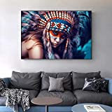 QWESFX Indian Body Art Canvas Painting Girl with Feather Colorido Pop Art Canvas Prints Retrato de Indian Wall Picture para Sala de Estar (Imprimir sin Marco) A5 60x120CM