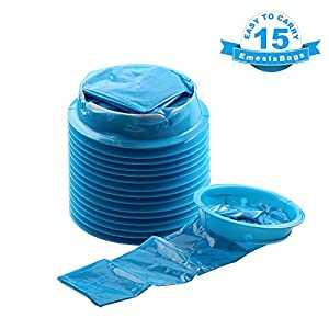Barf Bags, YGDZ 15 Pack Vomit Bags Blue Emesis Bag Disposable Car Sickness Puke Nausea Bags, 1000ml
