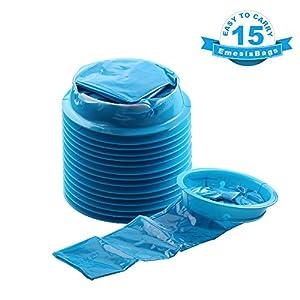 Barf Bags, YGDZ 15 Pack Vomit Bags Blue Emesis Bag Disposable Car Sickness Puke Nausea Bags, 1000ml