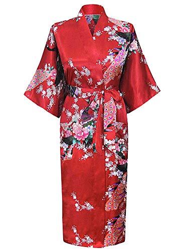 Westkun Damen Kimono Morgenmantel Lange Satin Bademantel Sexy Pfau Gedruckt Strickjacke Kimono Lang Robe Nachtwäsche Nachthemd für Braut Schlafanzug Party 3/4 Arm(Rot,S)