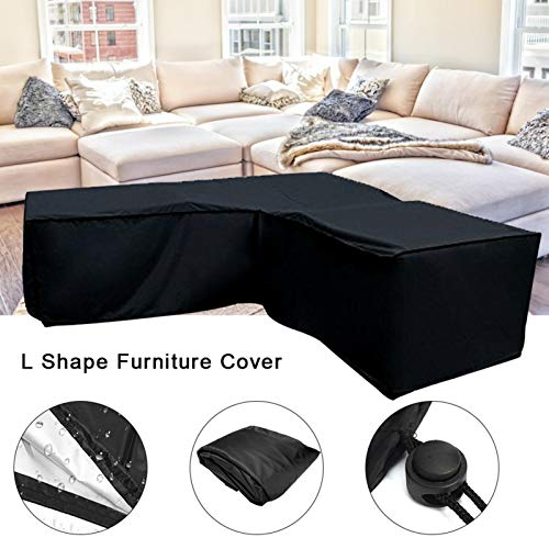Ksruee 2pcs L Form Abdeckung für Gartenmöbel, Sofa Überwürfe elastische Stretch Sofa Bezug, Wasserdicht L Form Schutzhülle für Loungemöbel, Staubdicht, Regenschutz für Terrassenmöbel Gartentische - 5