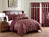 Adelle 7-Piece Paisley Jacquard Embroidered Comforter Bedding Set, Queen, Burgundy
