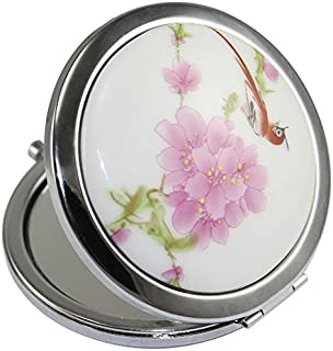 KOLIGHT New Vintage Chinese Landscape Flower Bird Double Sides (One is Normal,Another is Magnifying)Portable Foldable Pocket Metal Makeup Compact Mirror Woman Cosmetic Mirror (Flower+Red Bird)