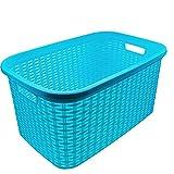 Plastic Forte - Cesta colada rectangular estilo mimbre, Pongo todo de plástico ,Cesta para ropa , Disponible 4 colores Para elegir que te más preferida 53,5 x 36 x 26,5 cm (Azul)