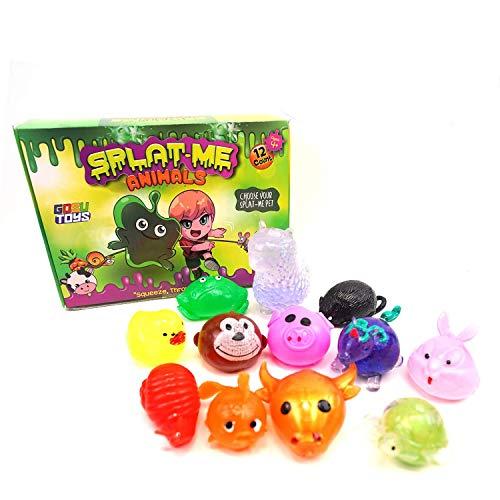 Sticky Splat Balls Splat-Me Animals (12 Pack) Squishy Assortments Splat Ball Pets Stress-Reliever - Turtle, Ox, Fish, Snail, Rabbit, Unicorn, Pig, Monkey, Duck, Rat, Llama, Frog