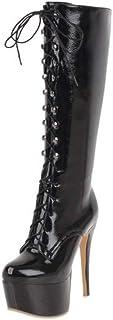 COOLCEPT Mujer Moda Plataforma Botas de Rodilla Cremallera