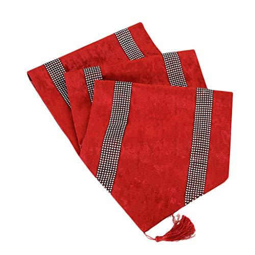 LCSHAN Bandera del Escritorio Rojo Bandera del gabinete Bandera de la Cama Mantel Chino Moderno Zen Mesa de Caoba de Madera Maciza Mesa de Centro Diamantes Decoración del Hotel Toalla de la Cama