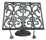 Cast Iron Ornamental Cook Book Stand Recipe Holder in Grey