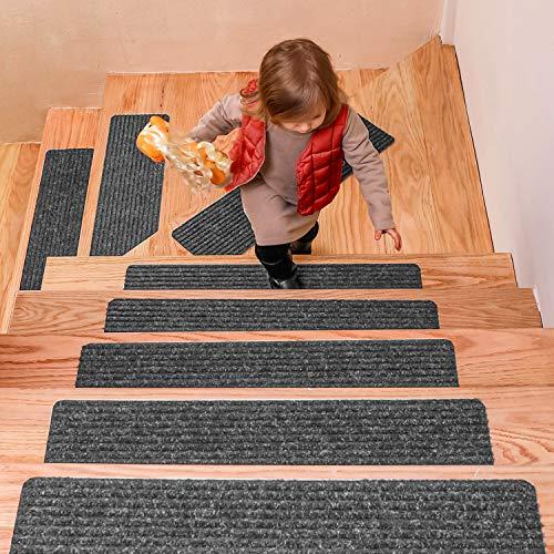 DanceWhale 15er Set Stufenmatten (76.2 x 20.3 cm) Treppenmatten Treppen rutschfest Selbstklebende Treppenteppich, Sicherheit Stufenteppich für Kinder, Älteste und Haustiere, Grau