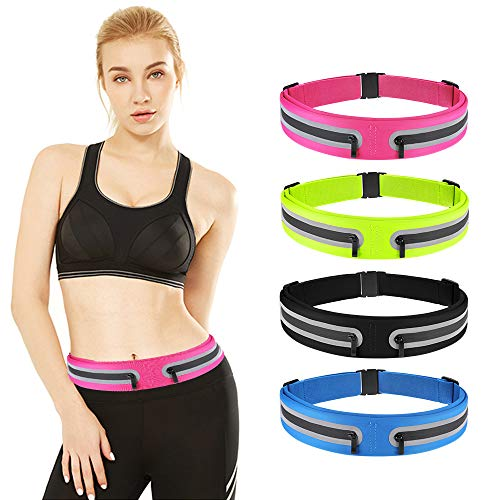 boruizhen Slim Running Belt, Waterproof Fitness Waist Packs Adjustable Walking Pouch Workout Belt for Phone, Yoga, Cycling, Hiking, Jogging (Black)