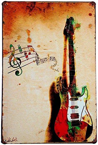 Hioni Gitarre Musik Instrument Vintage Blechschild Poster Wandschild Wand Dekoration Metallschild Türschild