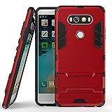 Funda para LG LG V20 (5,7 Pulgadas) 2 en 1 Híbrida Rugged Armor Case Choque Absorción Protección Dual Layer Bumper Carcasa con Pata de Cabra (Rojo)