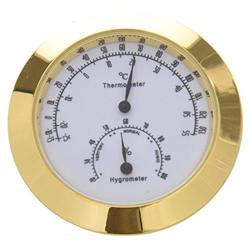 OVBBESS Hygrometer für Gitarre, Violine, Kupfer und Zinklegierung, Hygrometer, Temperatur- und Luftfeuchtigkeitsmesser, Thermometer mit weitem Einsatz, goldfarben