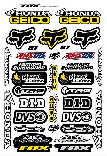 Kit DE Pegatinas Fox PATROCINADORES Pegatinas DE Motocicleta COMPATIBLES para Casco Honda Geico Yamaha KTM Cross Enduro (27)