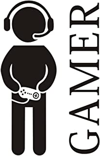 Gamer with Controller Wall Decal, Hatisan Game Boy Decal Wall Sticker, Vinyl Art Design Sticker Wall for Home, Playroom Bedroom Decoration Wallpaper