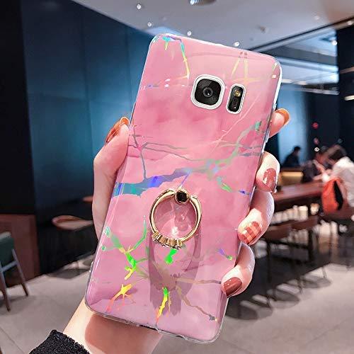 NSSTAR Compatible avec Samsung Galaxy S7 Coque avec avec Anneau Support Paillette Brillante Strass Marbre Motif Coque Silicone Antichoc Housse Étui TPU Ultra Mince Souple Bumper Housse,Rose