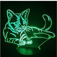 3Dナイトライトラブリーキャット3DナイトライトタッチスイッチLED動物3Dランプ7色USB3Dイリュージョンデスクランプ子供のおもちゃギフトとしての家の装飾