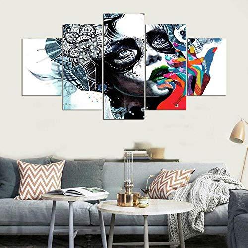 Lienzo en Cuadro Abstracto Moderno 200x100cm Impresión Muchachas hermosas abstractas para el petróleo 5 Piezas Material Tejido no Tejido Impresión Artística Imagen Gráfica Decoracion de Pared