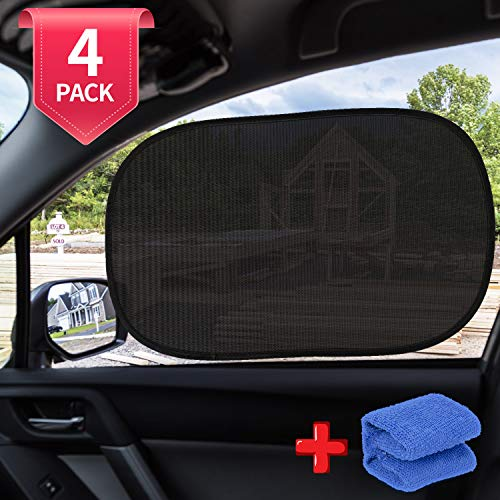 AiBast Car Window Shade, Automotive Interior Sun Protection Car Window Shade for Baby Cling Sunshade for Side Windows 99% UV Rays Protection 80 GSM Sunshade for Car, Truck, Van, SUV(4 Pack)