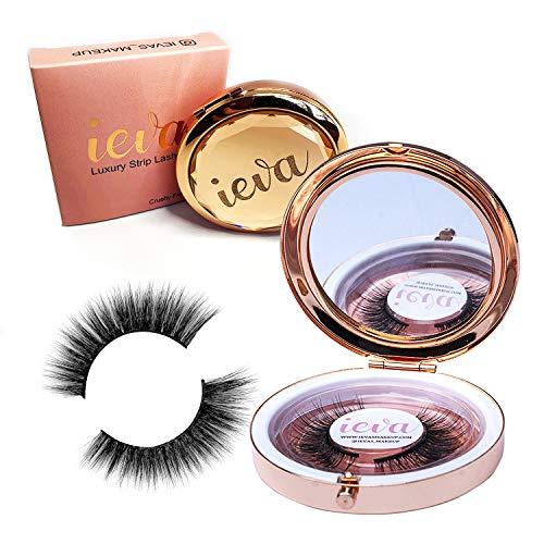 Ieva's Maquillage de luxe faux cils en vison avec étui de luxe et miroir No.48 \