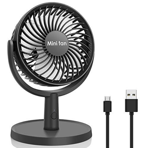 Mini Ventilateur de Bureau, Ventilateur USB à 4 Vitesses, Flux d'Air Puissant, Ventilateur de Table Silencieux Réglage à 310°, Ventilateur Personnel Portable pour le Bureau, à Domicile