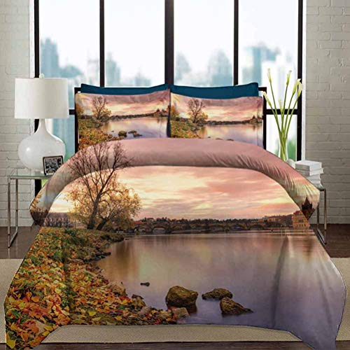 Landscape Duvet Cover Set Twin Size Bohemian Old Town Scenery by the River with Gothic Buildings in the Fall Sunset Decorative 3 Piece Bedding Set with 2 Pillow Shams for Bedroom Decor Pink Orange